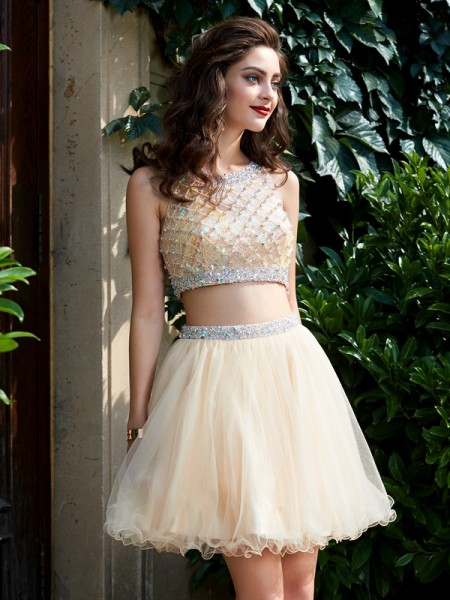 A-Line/Principessa Tondo Rete Senza maniche Perline Corto/Mini Two Piece Homecoming Abiti