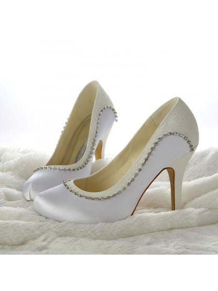 Stiletto Taccos Closed-toe Perline Bianca Scarpe da sposa